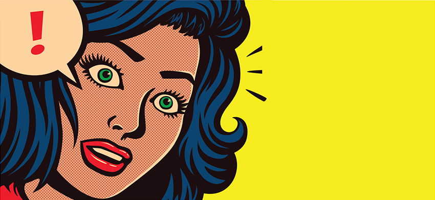 Pop art illustration of confused woman